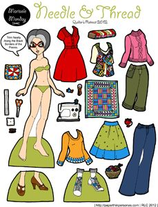 Quilter magnetic paper doll created in 2012. She has four pages of clothing.