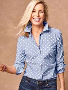 Next time you're looking for a classic closet staple, consider this preppy-meets-pretty take on The Classic Casual Shirt. Dots, stripes and a grosgrain-ribbon-lined placket come together in this every-closet-needs-it design. Comfortable, fun and super easy to layer, it's perfect for just about any occasion. | Talbots