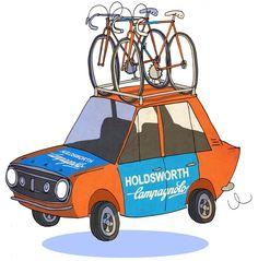 Holdsworth Cycling Team Car Illustration | Ben Scruton 2015