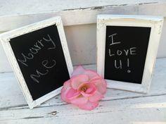 Shabby Chic Wedding Chalkboards Set of 2 by WhimsicalLoveBirds, $19.95