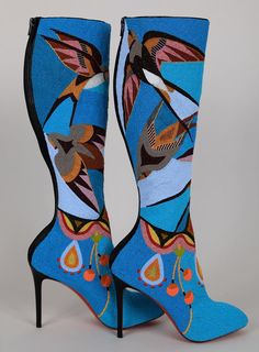 Native Art -Boots by Artist Jamie Okuma. Only the most beautiful boots I've ever seen!! It took her 6 months to sew each individual bead on.  These are now on display at Peabody Essex Museum.