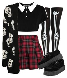 """Cute goth"" by duskull ❤ liked on Polyvore featuring H&M and WearAll"