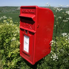 red post box in the countryside