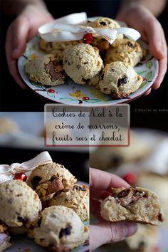 Cookies de Noël à la crème de marrons, fruits secs et chocolat