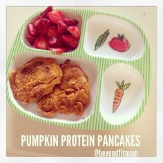 HEALTHY TODDLER BREAKFAST: High Protein Pumpkin Pancakes! 1/2 cup cottage cheese 1/2 cup pumpkin puree 3/4 cup dry oats 2 eggs 1 TBL coconut oil 1 tsp pumpkin pie spice 1 tsp vanilla stevia to taste