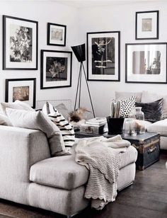 Dream home needs a dream living room, and this white, grey and black design scheme brings us straight to interior design heaven!: