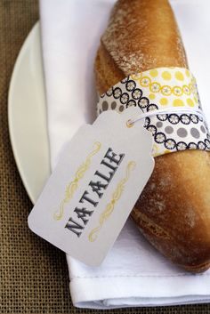 Crusty bread with place card - love it!
