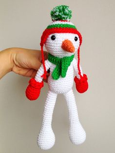 """*****HOLY COW!!!!! WHAT ARE THEY SMOKING?????  $42.37 FOR SOMETHING BARELY 8"""" TALL? ***** Snowman, Christmas Plush, Christmas decor, Christmas gift, Christmas Crochet, Crochet Snowman"""