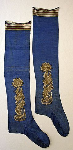 French silk stockings with metallic thread embroidery, late 18th century
