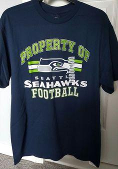 New Seattle Seahawks NFL Football T Shirt Navy Men Large Logo Sherman  #Majestic #SeattleSeahawks