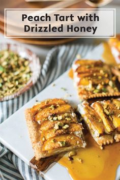 Southern flavors are sure to inspire you to whip up this Peach Tart recipe with Drizzled Honey. Your taste buds won't know what hit them thanks to a pop of tangy goat cheese and a sprinkle of crunchy pistachio nuts.