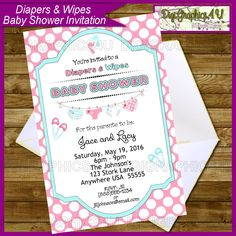 Baby Shower Diapers And Wipes Gender Neutral Printable Personalized  Invitation Digital File