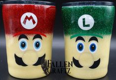 Glitter and Layered Vinyl Mario and Luigi Tumblers. Tumblers custom designed for a customer. Tumbler Stuff, Kids Tumbler, Tumbler Cups, Vinyl Tumblers, Glitter Tumblers, Custom Tumblers, Glitter Wine, Glitter Cups, Crochet Owl Pillows