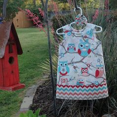 Coral and Aqua Owl Dress w Chevron Band, (infant, baby, girl, toddler,child) with matching hair accessory. on Etsy, $25.00