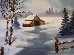 Winter Barn Painting - Winter Barn Fine Art Print