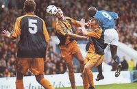 Man City 2 Burnley 2 in Oct 1998 at Maine Road. Shaun Goater heads just wide in the 2nd Division clash.