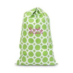 Monogrammed Laundry Bag (replace the name with a monogram and it would be perfect!) GOOD TIME OF YEAR FOR THESE.