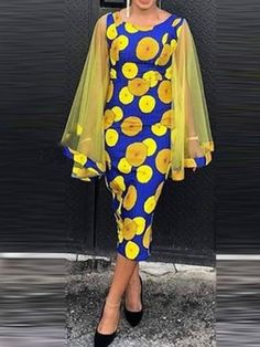 Ericdress Long Sleeve Mid-Calf Patchwork Pullover Dress , formal dresses maxi dresses womens dresses summer dresses party dresses long dresses casual dresses dresses for wedding , # African Wear Dresses, African Fashion Ankara, Latest African Fashion Dresses, African Print Fashion, African Attire, Modern African Dresses, Latest Fashion, Fashion Trends, Ladies Day Dresses