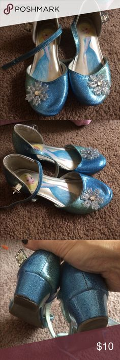 Blue glitter Frozen shoes. Blue glitter Frozen shoes. Dress shoes or play shoes. With snowflake on top. Shoes Dress Shoes