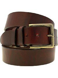 "Orion Leather 1 1/2"" Chestnut Oiled Latigo Leather Belt With Antique Brass Buckle"