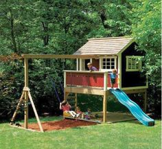minimalist luxury outdoor playhouse with slide