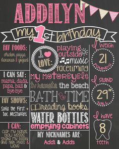 Pink and Gold First Birthday Chalkboard by PersonalizedChalk