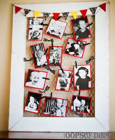 DIY chicken wire frame as photo display #frame #photo