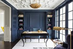 Blue shelves and walls