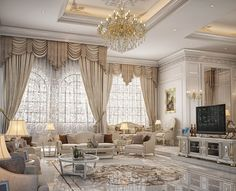 Dining & living room design for a private palace at Doha, Qatar Mansion Interior, Luxury Homes Interior, Luxury Home Decor, Interior Exterior, Fancy Living Rooms, Beautiful Living Rooms, Living Room Interior, Living Room Designs, Luxury Dining Room