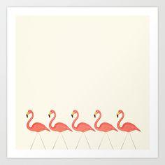 Flamingo Lineup Art Print by Laura Ruth | Society6