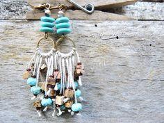 Moois van ' M(i)e': juwelen/jewerly : DIY : project : apache-hippie-oorbellen/earrings + coole rijgtip/real cool threading tip !