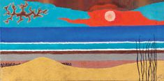 Yochanan Simon - Herzliya Beach (1966), Oil on canvas, 50X100 cm.