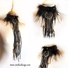 """INDY"" Choker with black leather fringes Perfect costume for Burning man - Tribal - Party - Festivals - Carneval"