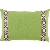 #16 Lime Linen w/ Fossil on Off White Camden Tape Lumbar Pillow