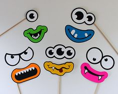 Items similar to Silly Monster Photo Booth Props on Etsy First Birthday Parties, First Birthdays, Photo Booth Kit, Monster Classroom, Monster Photos, Photos Booth, Monster Eyes, Mustache Party, Silly Faces