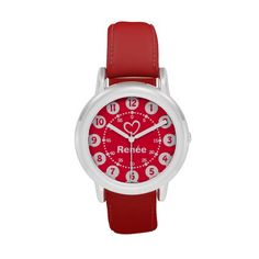 Girls red & white heart short name wrist watch
