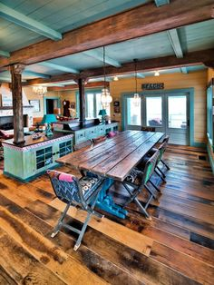 Antique barnboard Oak flooring in a beachfront home in Florida