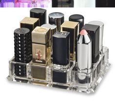 (Fits Large Based Lipsticks) Acrylic Oversized Lipstick Organizer & Beauty Care Holder Provides 12 Space Storage   byAlegory (Clear) Makeup Organizer