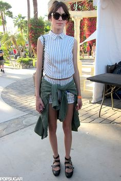Alexa Chung: Last season, matching sets were everywhere, and this year it's all about mastering the style in a new way. High-waisted shorts and structured tops feel more high fashion than the skirts and bralettes we spotted last year.