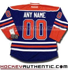 Any Name and Number Edmonton Oilers home Reebok jersey | Hockey Authentic