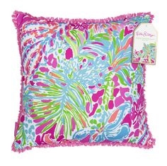 Lilly Pulitzer Spot Ya Floral Indoor/Outdoor Canvas Square Pillow with Frayed Fringe Trim Floral Throws, Floral Throw Pillows, Lily Pullitzer, Large Pillows, Décor Pillows, Decorative Pillows, My New Room, Indoor Outdoor, Outdoor Decor