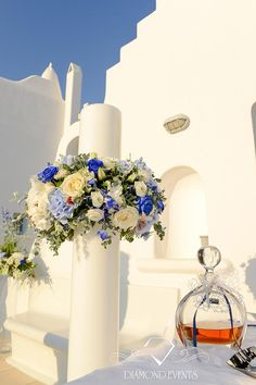 Wedding candles with blue flowers in Saint Fotini chapel in Mykonos! Wedding Ceremony Flowers, Blue Wedding Flowers, Wedding Ceremony Decorations, Wedding Ideas, Diy Wedding, Wedding Events, Cyprus Wedding, Dubai Wedding, Greek Wedding