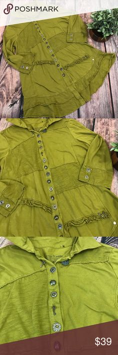 "Neon Buddha in my life ruffled key shirt Pea green Neon Buddha ""In my life"" ruffled shirt jacket with keys and abstract buttons. Size M 96% cotton 4% spandex. 29"" long Neon Buddha  Tops"