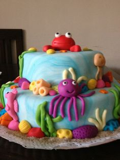 Cake at an Under the Sea Party #underthesea #partycake