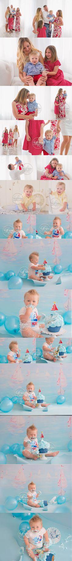 classic boy nautical cakesmash session by rhode island baby photographer heidi hope