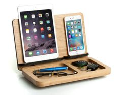 Mens gift, Ipad mini & Iphone 7 docking station, personalized for him, husband gift, Cell wooden dock, mens desk organizer, ipad mini stand