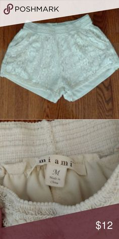 Francesca's Boutique crochet shorts Cream colored shorts. Lace/crochet over lining with an elastic waist and pockets Francesca's Collections Shorts