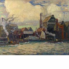 """""""London Docks,"""" Richard Hayley Lever, oil on canvas, 40 x 50"""", private collection."""