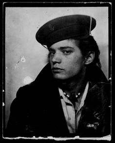 Robert Mapplethorpe, 42nd Street (NYC) photo-booth self portrait, circa 1970