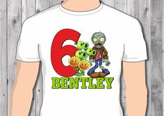 Plants vs Zombies Inspired Personalized birthday by swingNmonkeez Zombie Birthday Parties, 5th Birthday Party Ideas, 3rd Birthday, Zombies Vs, P Vs Z, Zombie T Shirt, Ideas Para Fiestas, Valentino, Trending Outfits